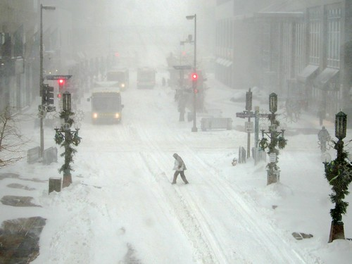 Blizzard in downtown Minneapolis