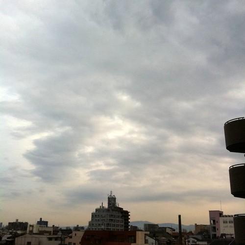 ( ^ω^)( -ω-)( _ _)おはよ! 今朝の大阪、ちと曇り空です。