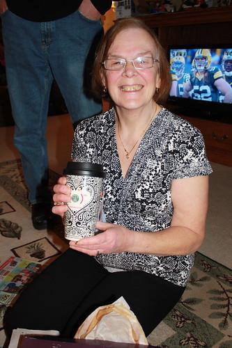 mom with Jonathan Adler Starbucks cup