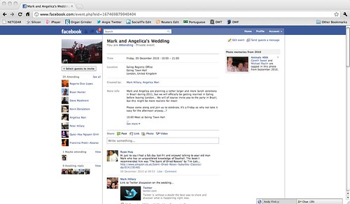 Facebook wedding invitation