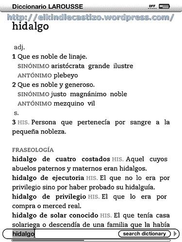 Definición ampliada en el diccionario del Kindle