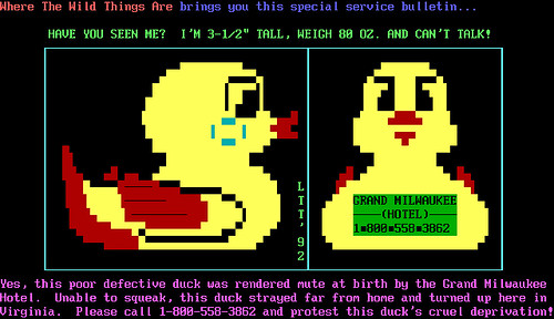 BBS ANSI art - Link The Triune - mute duck - 19920722