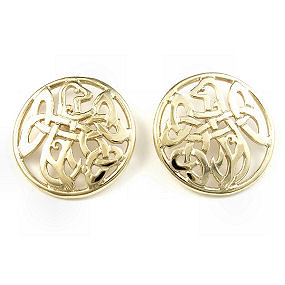 yellow gold cufflinks with a Celtic knot pattern incorporating a stylised otter picture