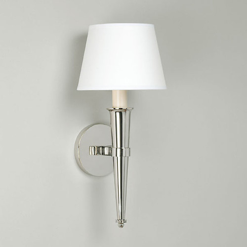 lighting, arras cone wall light us, vaughan online, nickel with large backplate