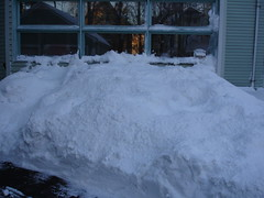 Snowbank up to dining room windows