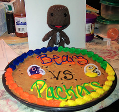 Sackboy and the Packers-Bears Cookie