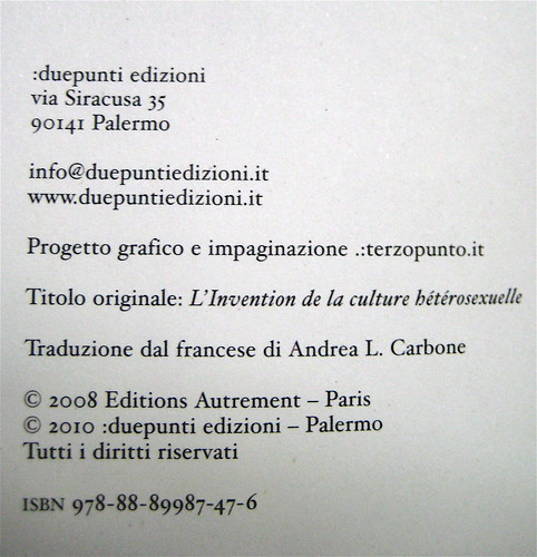 Louis-Georges Tin, L'invenzione della cultura eterosessuale, .due punti edizioni 2010; progetto grafico e impaginazione: .:terzopunto.it; colophon (part.), 1
