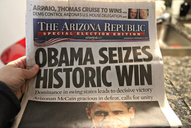 Obama is elected President - paper dated 11/05/08.