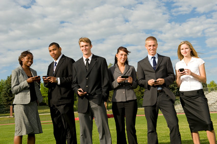 Group of business people with smartphones