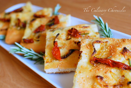Focaccia with Caramelized Onion, Sundried Tomato & Rosemary