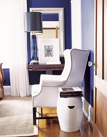 Crisp blue + white bedroom: Benjamin Moore 'Starry Night Blue'