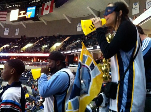 In the Super Fan section at the Grizz Game