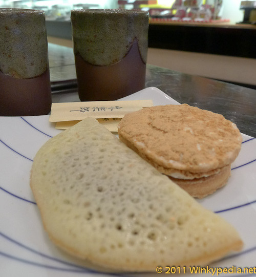 Japanese cakes and green tea at Minamoto Kitchoan
