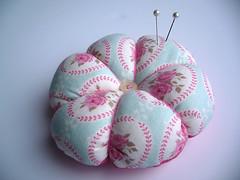 Pink floral pin cushion