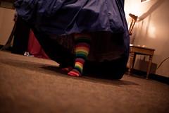 """My """"shooz"""" - rainbow socks are all I need"""