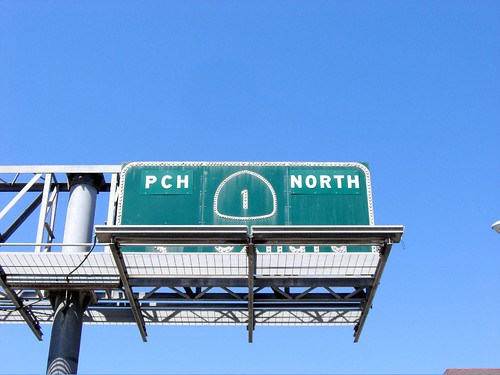 Photo of the PCH highway sign - reads 'PCH 1 NORTH'