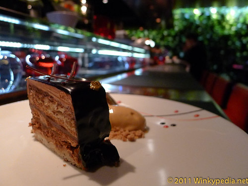 La Noisette (Hazelnut biscuits with crunchy praline, chocolate mousse) at L'atelier de Joel Robuchon