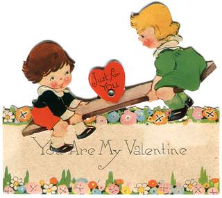 vintage valentine: see-saw