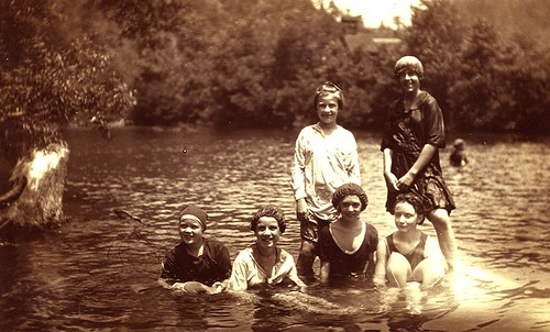 1925 Evelyn and friends, Elkmont swimming hole