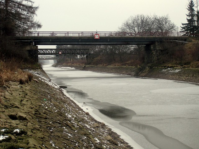 Frozen Canal between the Vltava (Moldau) and the Lab (Elbe)