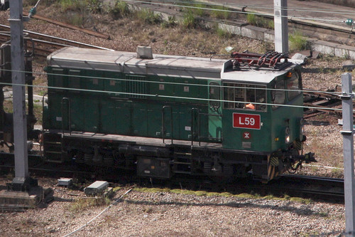 MTR battery-electric loco L59 shunting at Kowloon Bay depot