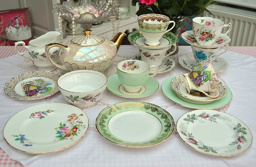 Vintage Mixed China Tea Set with Lustreware Teapot