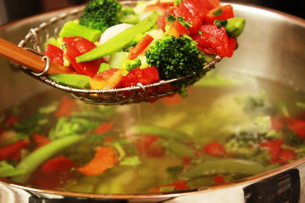 drain veggies