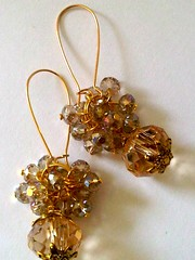 Gold Champagne Thunder Polish Glass Crystal Bouquet Dangle Earrings