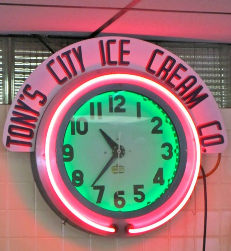 Tony's City Ice Cream Neon Clock