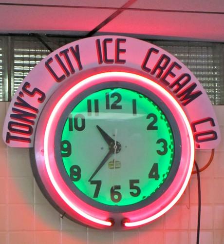 Tony's City Ice Cream Neon Clock