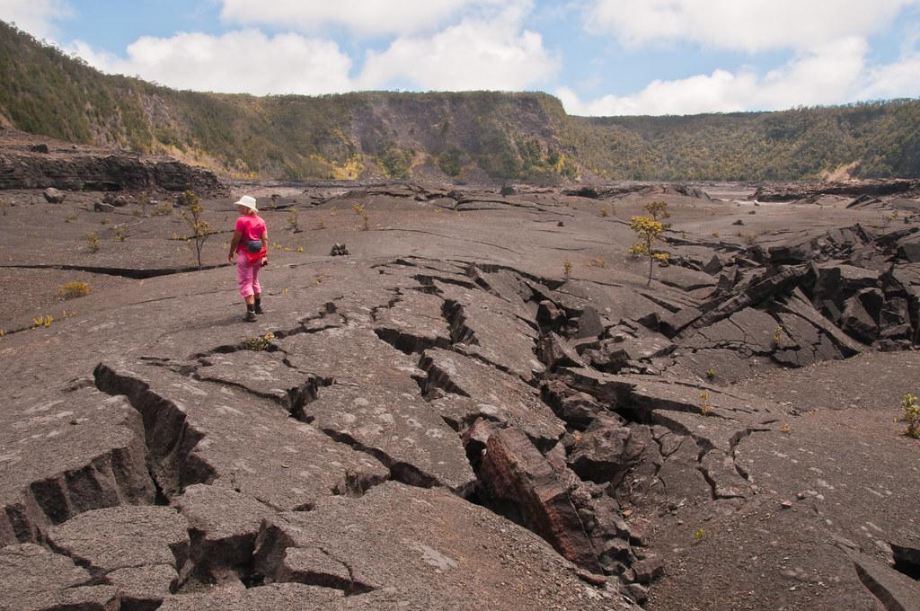 Chris walking across the flor of the Kilauea Iki caldera