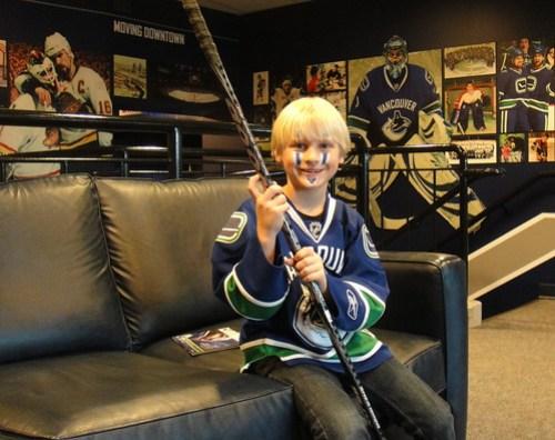 Ready for the game, waiting in the Canuck's offices
