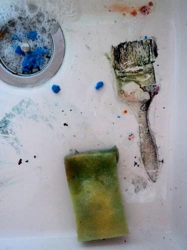 Marcas de água no atelier / Atelier water prints