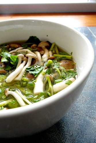 miso soup with watercress and bunashimeji mushrooms