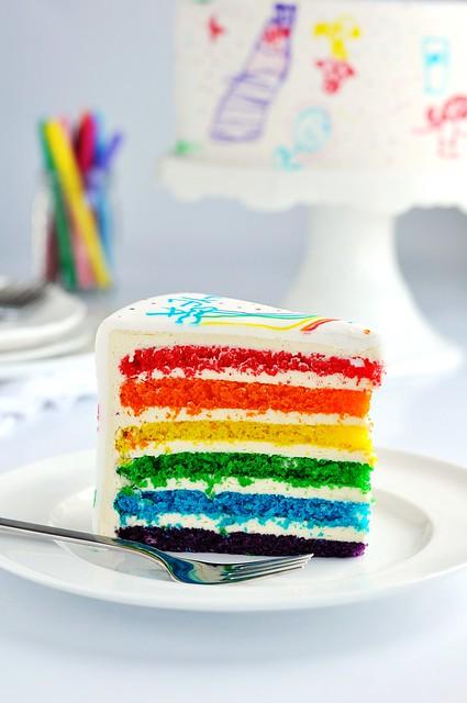 Rainbow Doodle Birthday Cake 3
