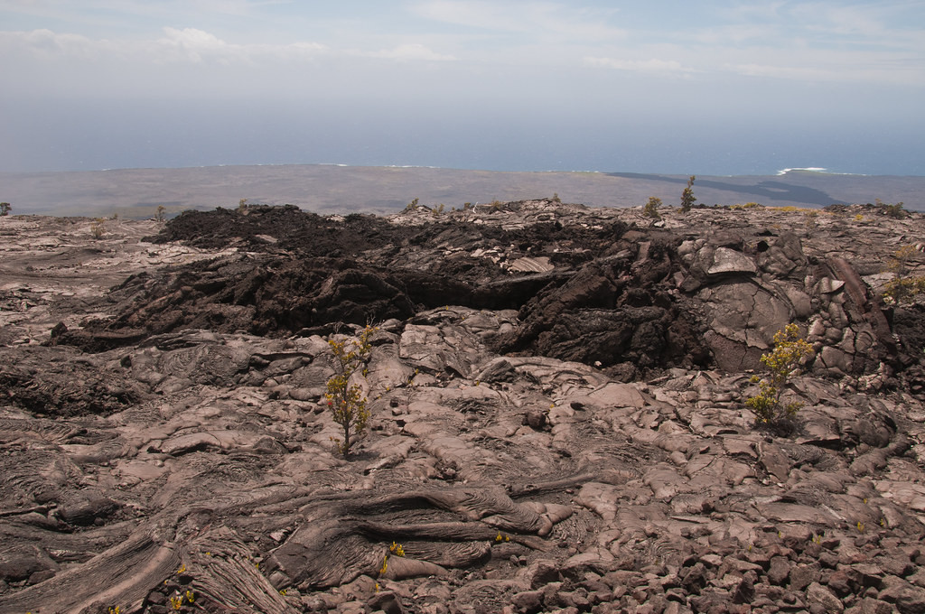Lava flow showing both pahoehoe and aa