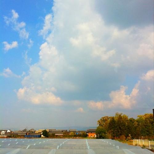 通勤時のバスから。手前には、ビニールハウスがあるよ。 のんびり~! ( ╹◡╹) #afternoon #sky