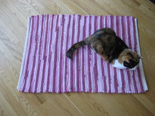 woven rug with Phoebe