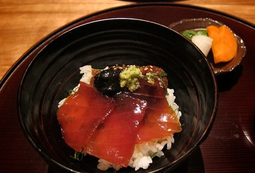 Tekka Don - Dashi steamed rice with Tuna and a Miso, Soy Scallion Purée by bloompy