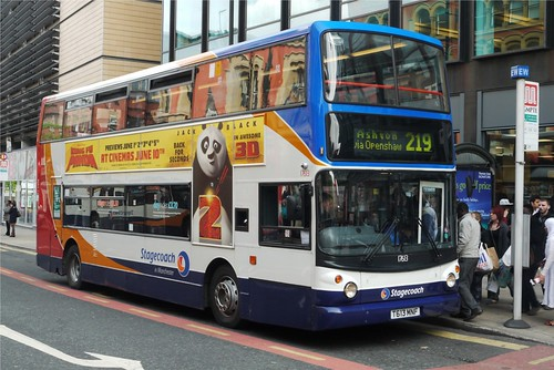Dennis Trident, Alexander body, T613 MNF, Stagecoach in Manchester, Piccadilly Gardens