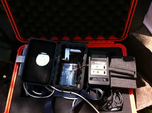 Setting up Bento Box Geo Radiation detector #bGeigie for Fukushima ride for #safecast.org
