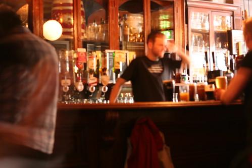 dark blurry irish pub