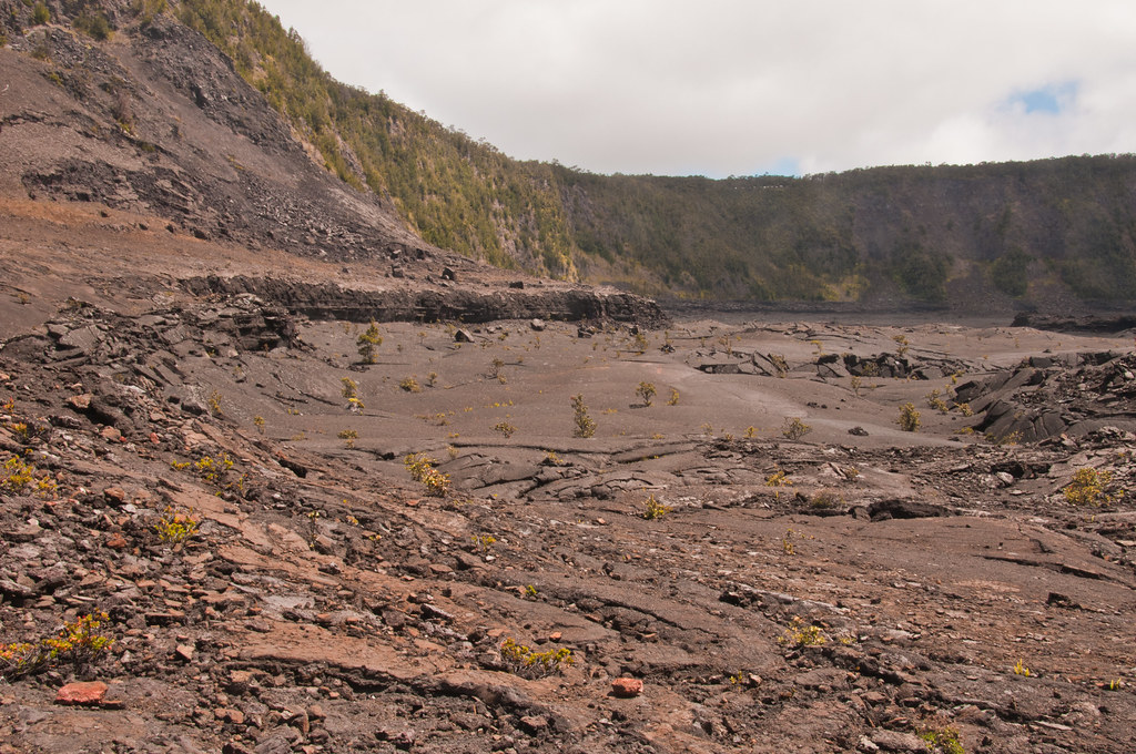 Inside the Kilauea Iki caldera showing the floor and the lava subsidence terrace
