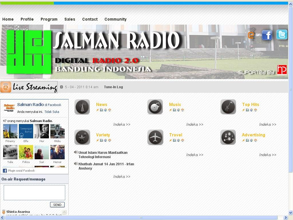 Situs Salman Radio yang beralamatkan di SalmanRadio.com