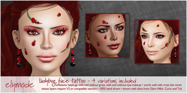 Ladybug face paint tat