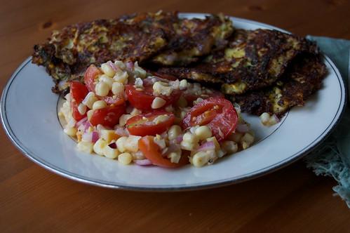 Tomato-corn-smoked mozarella salad