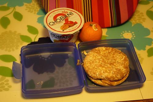 peanut butter and jelly sandwich, mango chobani, clementine