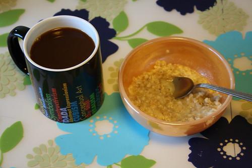 coffee, banana oatmeal