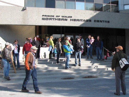 The crowd starts to gather for Bug Fest at the Yellowknife Northern Heritage Centre