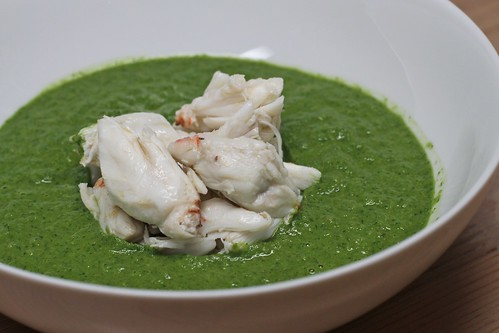 green gazpacho with crab